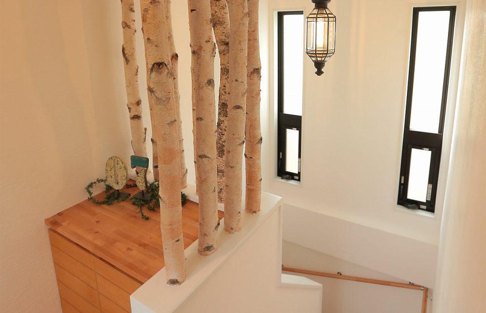 階段をのぼってゆくと、まるで白樺の杜に辿り着いたかのよう、そんな上階へのアプローチがお待ちかね。